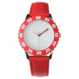 O relógio vermelho de aço inoxidável do miúdo com