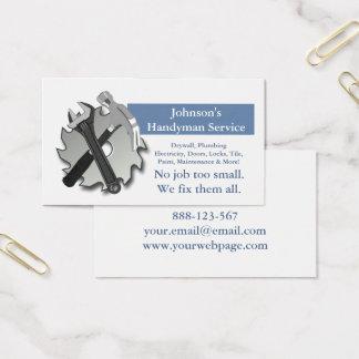 O reparador do trabalhador manual viu a chave do cartão de visitas