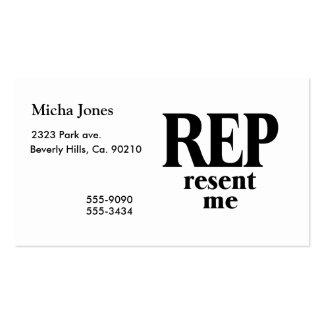 O representante enviou-me novamente cartão de visita