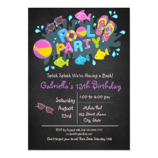 O respingo de Splish das meninas vem a nossa festa Convite 12.7 X 17.78cm