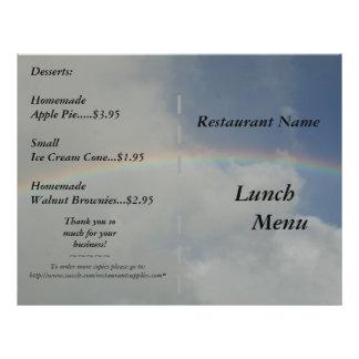 O restaurante fornece o arco-íris dos menus do alm panfleto personalizados