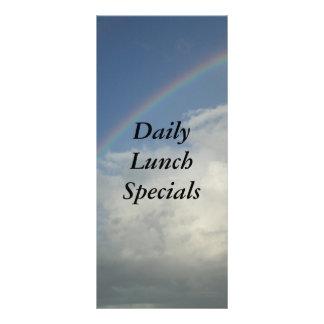 O restaurante fornece o arco-íris dos Specials 10.16 X 22.86cm Panfleto