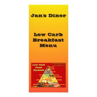 O restaurante fornece o baixo menu do pequeno 10.16 x 22.86cm panfleto