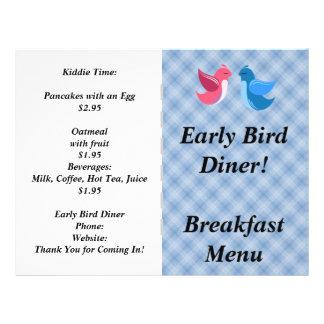 O restaurante fornece o pássaro adiantado panfleto coloridos