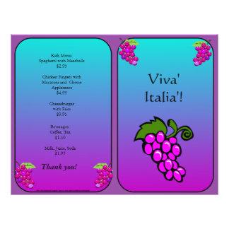O restaurante fornece uvas panfleto coloridos