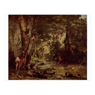 O retorno dos cervos ao córrego em Plaisir FO Cartão Postal