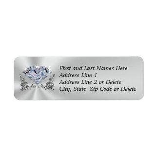 O retorno lindo do endereço do diamante etiqueta etiqueta endereço de retorno