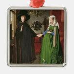 O retrato de Giovanni Arnolfini Ornamento Quadrado Cor Prata
