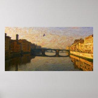 O rio Arno em Firenze - AR-0032A Pôster