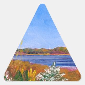 O Rio Delaware dourado Adesivo Triangular