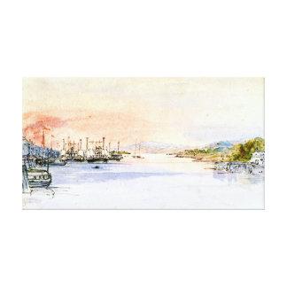 O Rio Hudson Albany New York 1846 Impressão De Canvas Esticadas