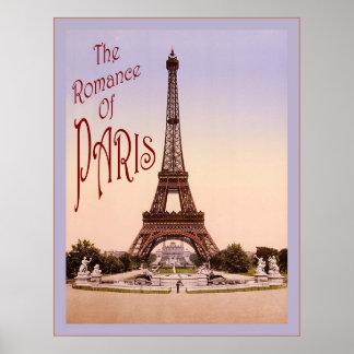 O romance do poster das viagens vintage do ~ de Pa