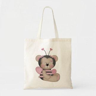 O rosa adorável Bumble o urso da abelha Sacola Tote Budget