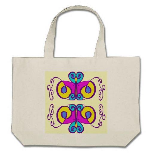 O rosa amarelo e as máscaras do abstrato do azul p bolsa para compras
