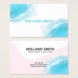 O rosa azul moderno compo o cartão de visita do