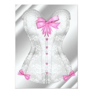 O rosa branco do damasco curva o chá da lingerie convite personalizado
