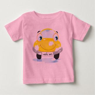 O rosa caçoa o t-shirt com táxi amarelo camiseta para bebê