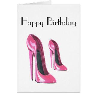 O rosa calça o cartão de aniversário