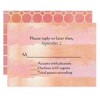 O rosa coram e o cartão Wedding romance do ouro