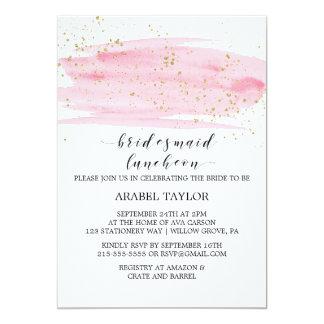 O rosa da aguarela coram e o almoço da dama de convite 12.7 x 17.78cm