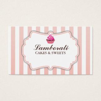 O rosa da padaria do cupcake listra moderno cartão de visitas