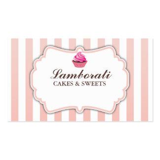 O rosa da padaria do cupcake listra moderno elegan cartões de visitas