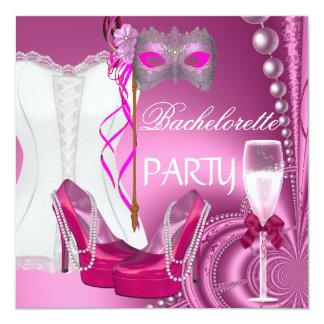 O rosa do espartilho da festa de solteira calça a convite quadrado 13.35 x 13.35cm