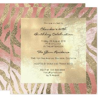 O rosa do rosa da pele animal do safari da zebra convite quadrado 13.35 x 13.35cm