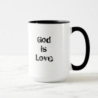 O rosa do santo da caneca de café do deus de Lima