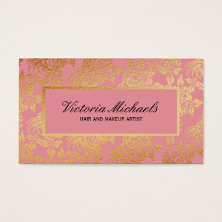 O rosa e a folha de ouro olham cartões de visitas