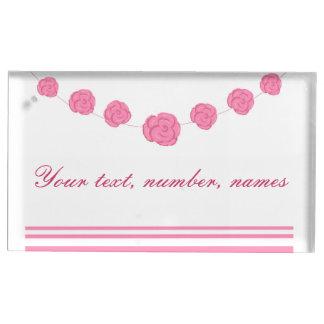 O rosa e as listras do rosa que wedding a mesa suporte para cartao de mesa