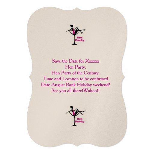 O rosa e o cocktail do partido de galinha convidam convites personalizado
