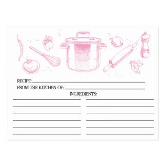 O rosa esboçou cartões da receita das ferramentas cartão postal