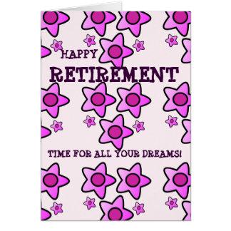 O rosa feliz da aposentadoria floresce a hora para cartão comemorativo