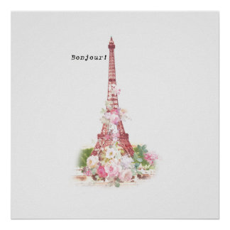 O rosa feminino do vintage floresce a torre Eiffel Pôster