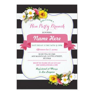 O rosa floral da listra do chá da refeição matinal convite 12.7 x 17.78cm