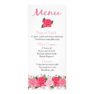 O rosa floral do rosa floresce o menu - casamento,