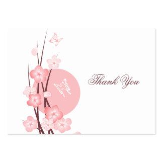 O rosa floresce cartões de agradecimentos da cartão de visita grande