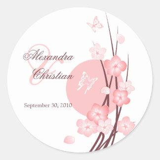 O rosa floresce o anúncio do casamento da adesivo