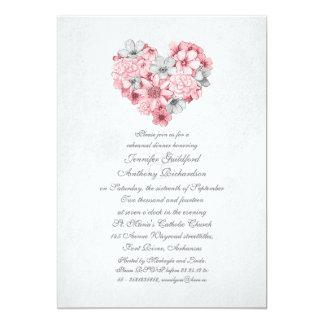 o rosa floresce o jantar de ensaio do vintage do convite 12.7 x 17.78cm