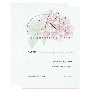 O rosa macio floresce a tipografia elegante que convite 8.89 x 12.7cm
