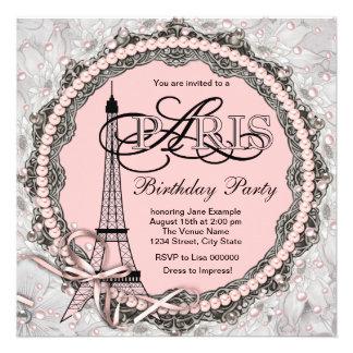 O rosa peroliza a festa de aniversário cor-de-rosa convite personalizado
