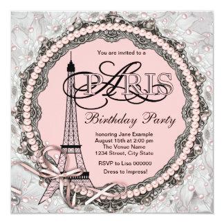 O rosa peroliza a festa de aniversário cor-de-rosa convite quadrado 13.35 x 13.35cm