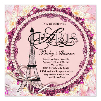 O rosa peroliza o chá de fraldas cor-de-rosa de convite personalizados