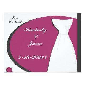 O rosa quente de vestido de casamento & salvar a convite 10.79 x 13.97cm