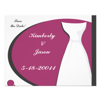 O rosa quente de vestido de casamento salvar a d convite personalizado
