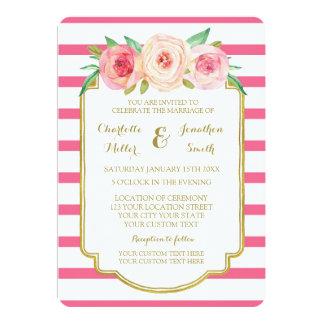 O rosa quente floral listra convites do casamento