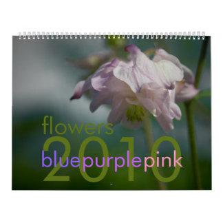O rosa roxo azul floresce o calendário 2010