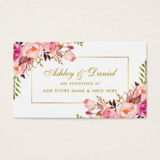 O rosa Wedding cora cartão da inserção do registro