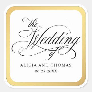 O roteiro elegante floresce o casamento adesivo quadrado